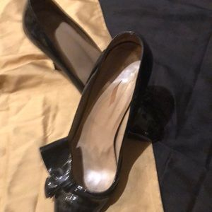 Valentino Black Patent Pumps Iconic Bow
